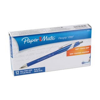 Paper Mate Flexgrip Elite Medium Point Blue Ink Retractable Ballpoint Pen (Pack of 12)