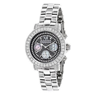 Luxurman Women's Montana Black Dial 3ct Diamond Watch