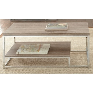 Lennox Chrome and Faux Wood Coffee Table