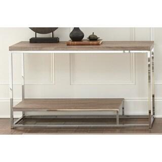Lennox Chrome and Faux Wood Sofa Table
