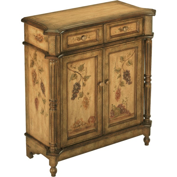 Orchard Antique Fruit Motif Accent Cabinet