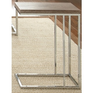 Lennox Chrome and Faux Wood Chairside Table