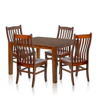 Christopher Knight Home Square Solid Maple Wood Cherry Table and Side Chairs (Set of 4)