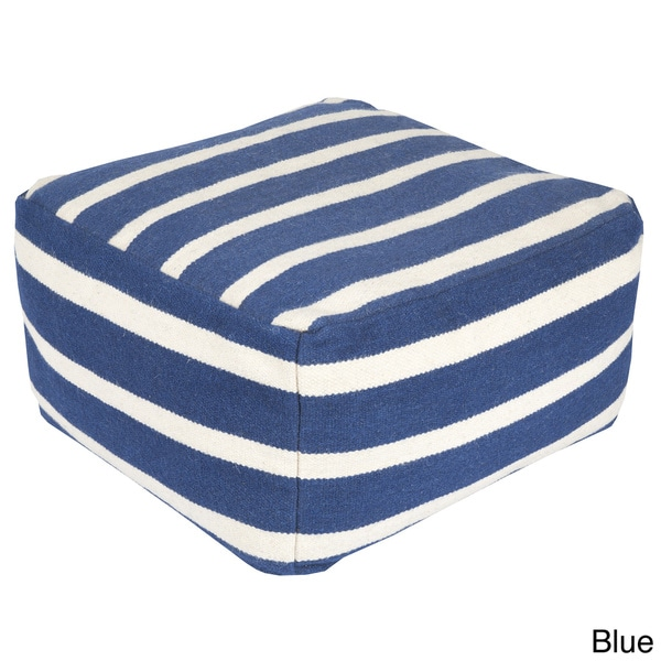 Hand Crafted Amelia Striped 24-inch Large Square Pouf 13295118