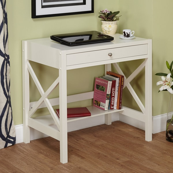 Simple Living Antique White X Desk Overstock