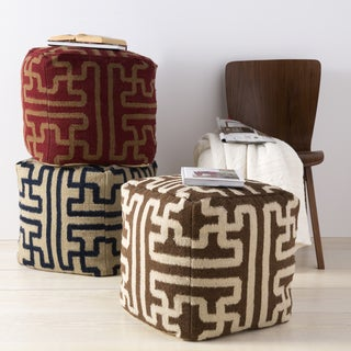 Hand Crafted Kyra Geometric 18-inch Square Pouf