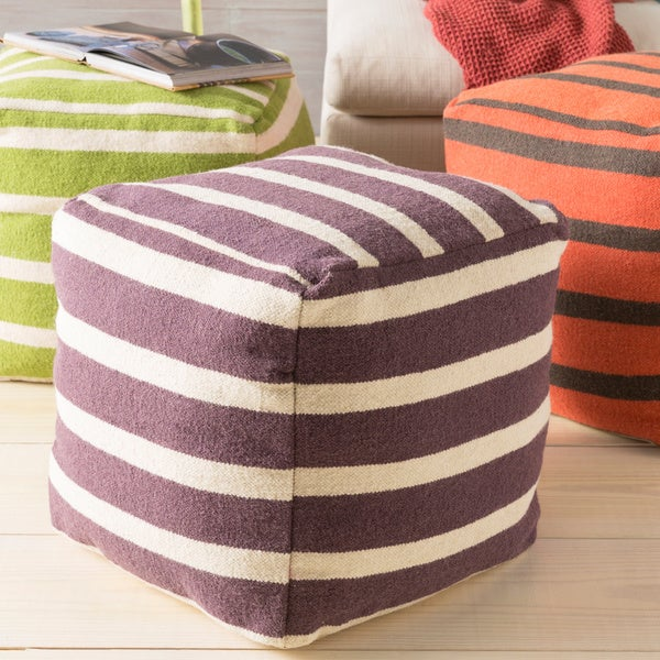 Hand Crafted Colby Striped 18-inch Square Pouf 13295195