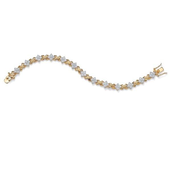 """1/2 TCW Round Diamond 14k Yellow Gold-Plated """"X & O"""" Tennis Bracelet 7 1/2"""" 13295240"""