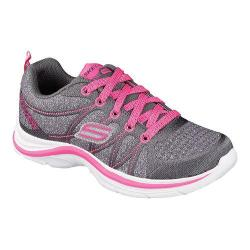 Girls' Skechers Swift Kicks Bling Thing Sneaker Charcoal/Neon Pink