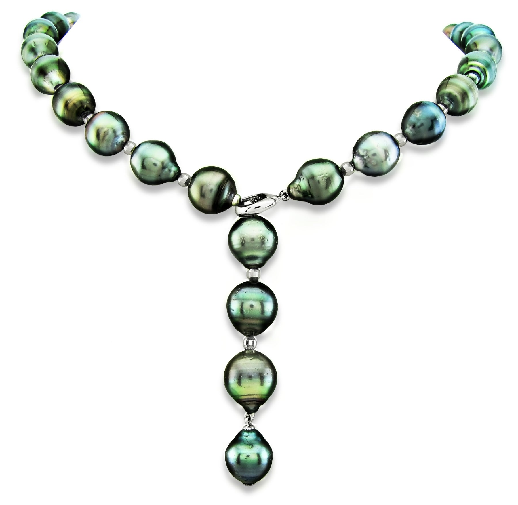 DaVonna 14k White Gold Black Tahitian Pearl and Beads Lariat Necklace