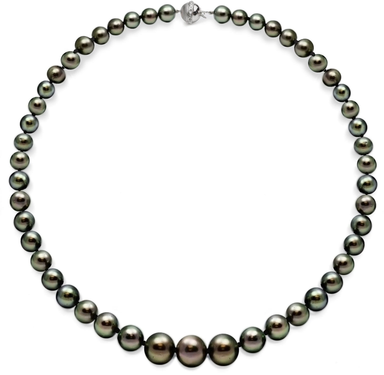 DaVonna 18k White Gold Black Tahitian Pearl and Diamonds Necklace (10-13 mm)