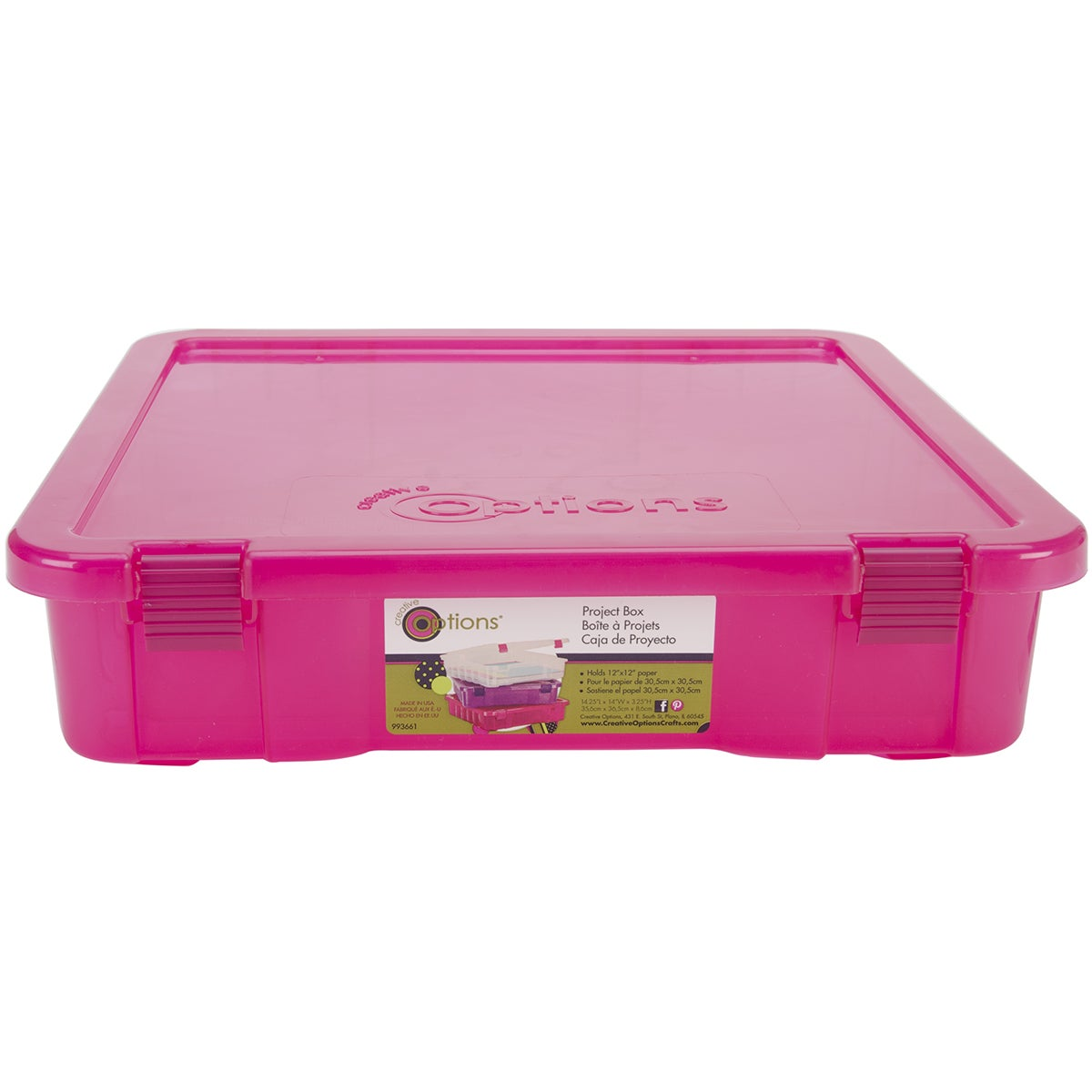 Creative Options Project Box14inX14inX3in Magenta Transparent