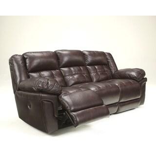 Signature Design by Ashley Randon Mahogany Power Reclining Sofa