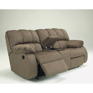 Signature Design by Ashley Glider Mocha Reclining Loveseat with Console