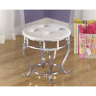 Signature Designs by Ashley Zarollina Silver Upholstered Youth Vanity Stool