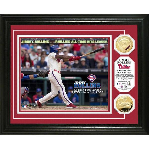 MLB Jimmy Rollins Phillies All Time Hit Leader Gold Coin Photo Mint