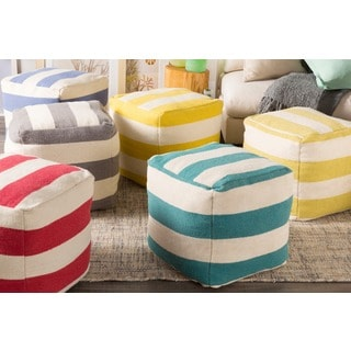 Hand Crafted Jaci Striped 18-inch Square Pouf