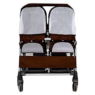 Brown Twin Double Heavy Duty Side-by-Side Pet Stroller