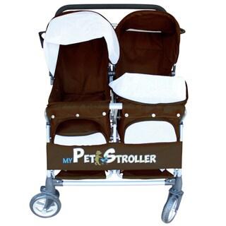 Brown Twin Double Large Wheels Side-by-Side Pet Stroller