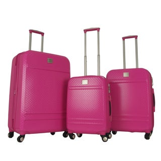 Gabbiano Pink Polycarbonate 3-piece Expandable Hardside Spinner Luggage Set