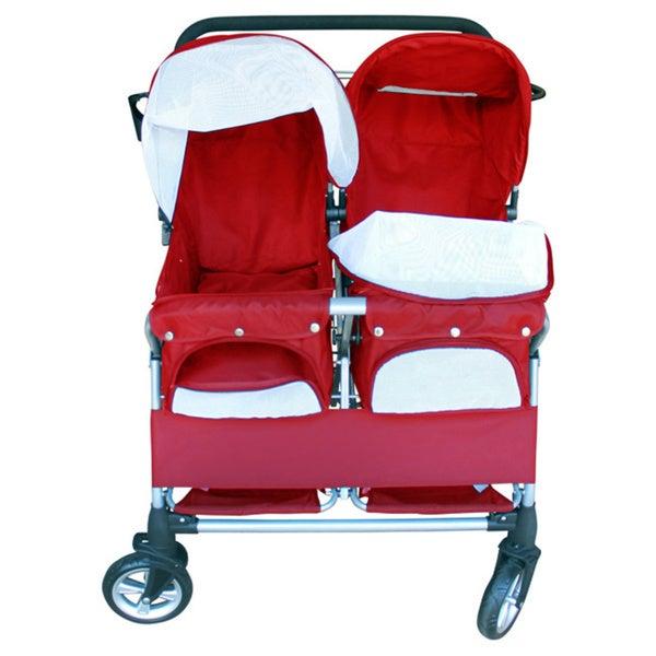 Red Twin Double Heavy Duty Side-by-Side Pet Stroller