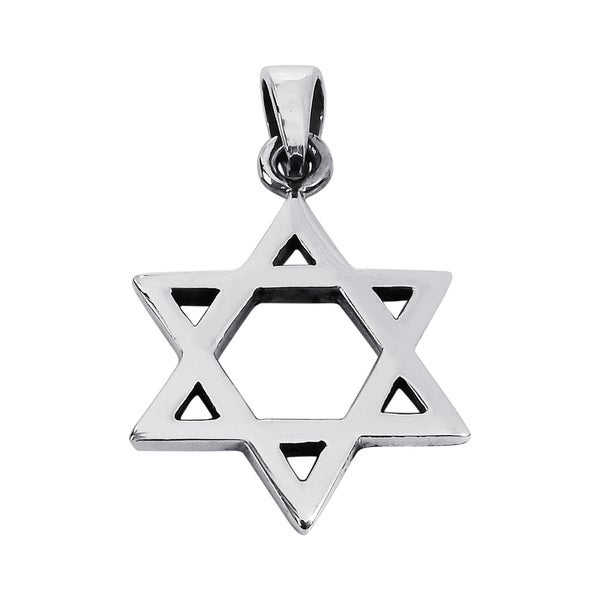 19mm Plain Simple Star of David .925 Silver Pendant (Thailand)