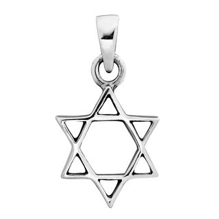 19mm Plain Simple Star of David .925 Silver Pendant (Thailand)