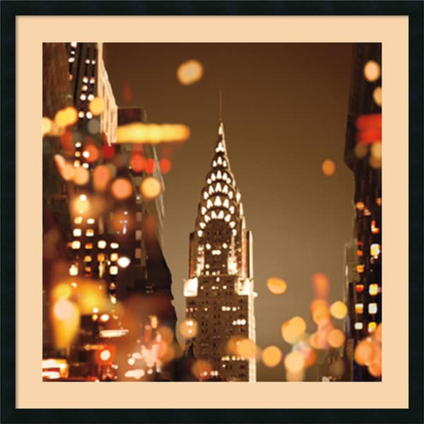 Kate Carrigan 'City Lights-New York' Framed Art Print 34 x 34-inch