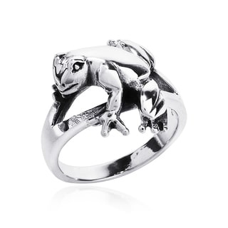 Cute Relaxing Frog .925 Sterling Silver Ring (Thailand)