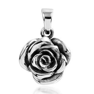 Beautiful Blooming Rose .925 Sterling Silver Pendant (Thailand)