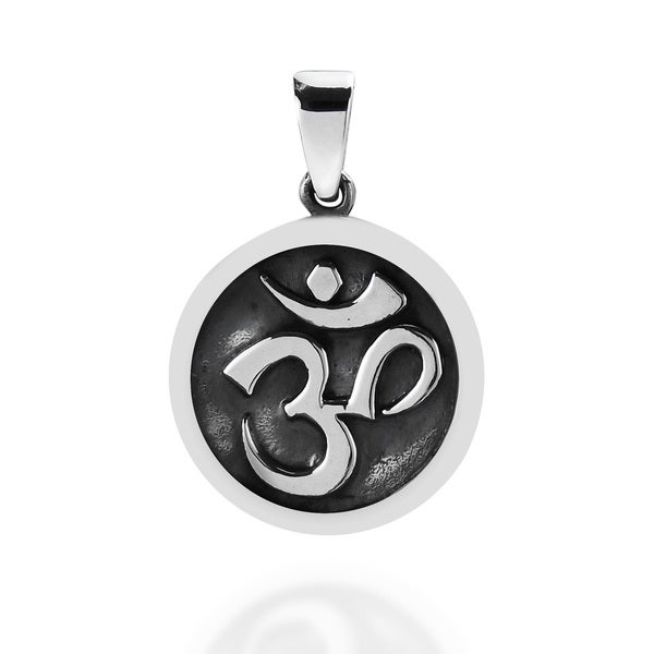 Round Stand Out Aum or Om Prayer Sign .925 Silver Pendant (Thailand)
