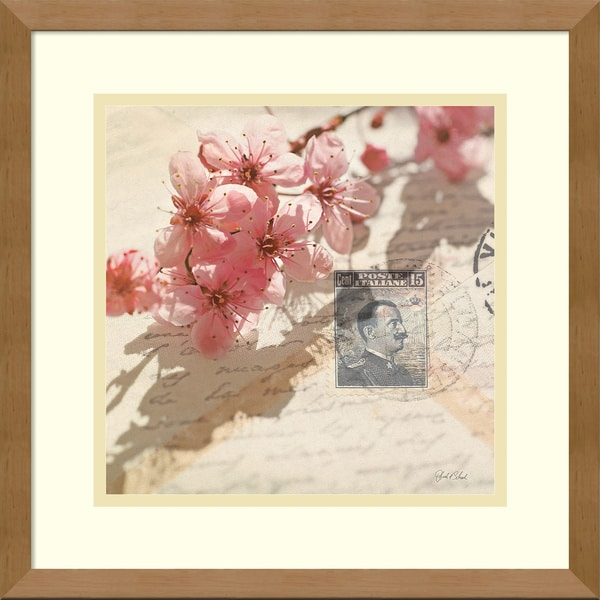 Deborah Schenck 'Vintage Letters and Cherry Blossoms' Framed Art Print 15 x 15-inch
