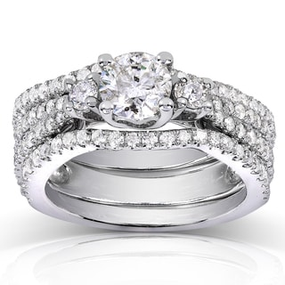 Annello 14k White Gold 1 3/4ct TDW Round Diamond Three Stone 3-piece Bridal Rings Set (H-I, I1-I2)