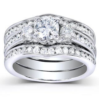 Annello 14k White Gold 1 1/2ct TDW Diamond 3-piece Bridal Set (HI, I1-I2)