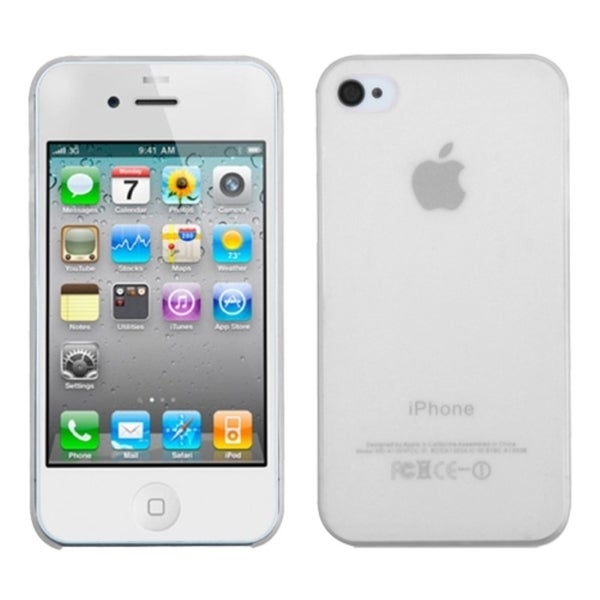 INSTEN Clear Stiff Gel TPU Rubber Candy Skin Phone Case Cover for Apple iPhone 4/ 4S