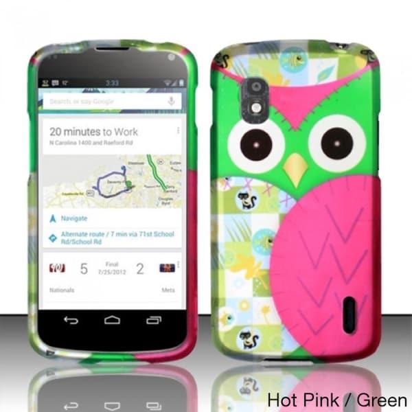 BasAcc Owl Cute Cartoons Rubberized Hard Case for LG Nexus 4 E960 (T-Mobile)