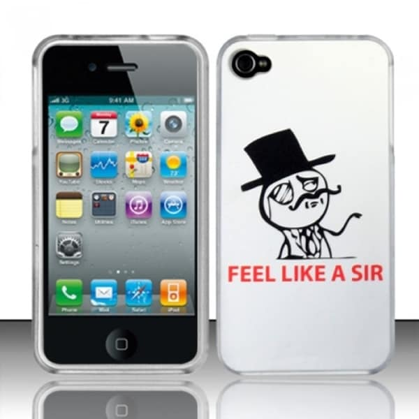 INSTEN Hilarious Monotone Black White Rubberized Phone Case Cover for Apple iPhone 4/ 4S