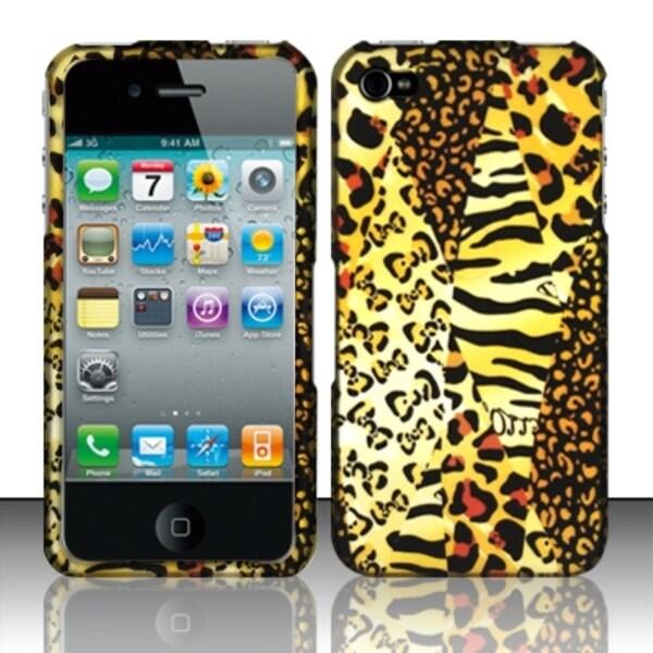 INSTEN Safari Leopard Zebra Mix Design Rubberized Phone Case Cover for Apple iPhone 4/ 4S