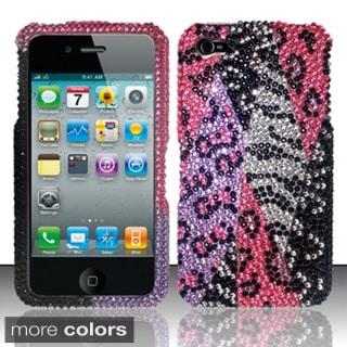 BasAcc Diamond Beads Shinny Leopard Zebra Hard Case Cover for Apple iPhone 4/ 4S