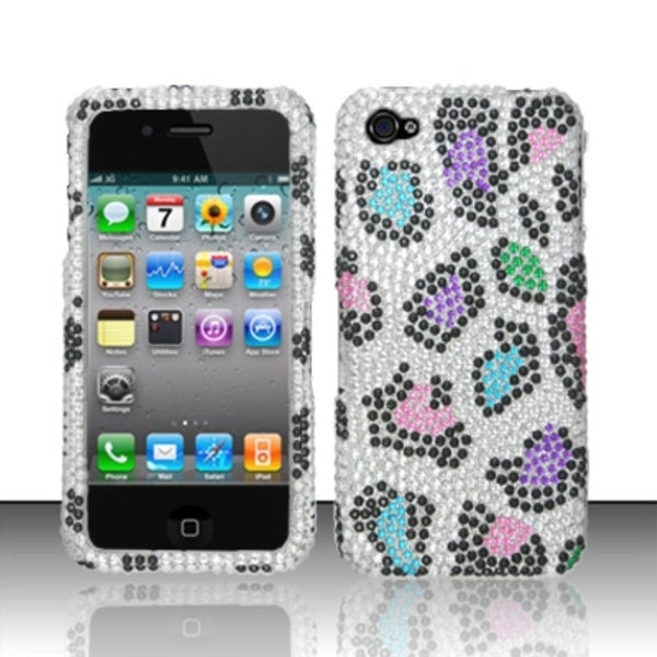 INSTEN 3D Diamond Beads Shinny Leopard Hard Plastic Phone Case Cover for Apple iPhone 4/ 4S