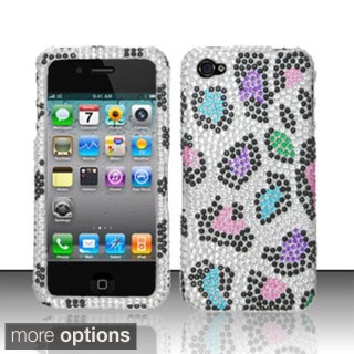 BasAcc 3D Diamond Beads Shinny Leopard Hard Case Cover for Apple iPhone 4/ 4S