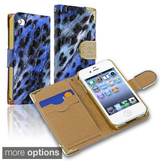 BasAcc Beads Leopard Wallet Magnetic Lanyard Leather Case for Apple iPhone 4/ 4S
