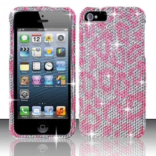 INSTEN 3D Diamond Beads Shinny Leopard Hard Plastic Phone Case Cover for Apple iPhone 5/ 5S