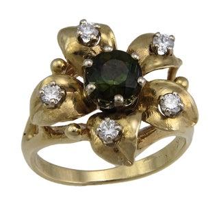 Estate 14k Yellow Gold 1/3ct TDW Diamond and Green Tourmaline Flower Ring (F-G, VS1-VS-2)