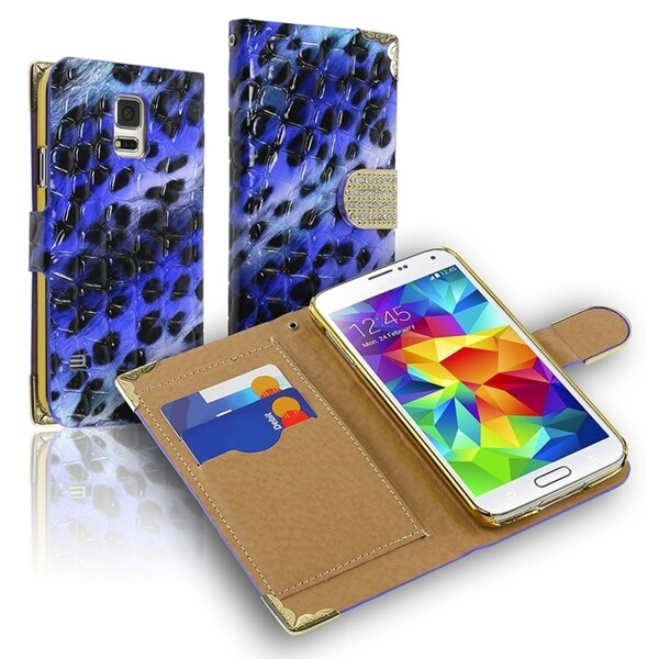 INSTEN Beads Leopard Wallet Magnetic Lanyard Leather Phone Case Cover for Samsung Galaxy S5