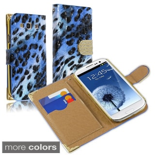 BasAcc Beads Leopard Wallet Magnetic Lanyard Leather Case for Samsung Galaxy S3