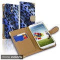 BasAcc Beads Leopard Wallet Magnetic Lanyard Leather Case for Samsung Galaxy S4