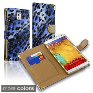 BasAcc Leopard Wallet Magnetic Lanyard Leather Case for Samsung Galaxy Note 3