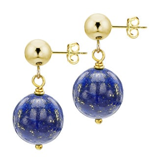 DaVonna 14k Yellow Gold Round Blue Lapis Dangle Earring (8 mm)
