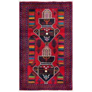 Herat Oriental Afghan Hand-knotted Tribal Balouchi Red/ Black Wool Rug (2'8 x 4'6)